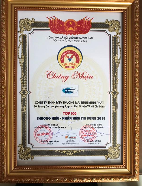 Bình Minh Phát ngày càng được khách hàng tin tưởng và bình chọn thuộc top 100 thương hiệu tín nhiệm 2018